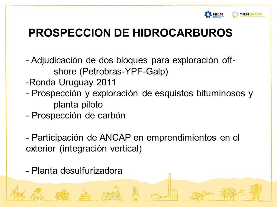 PROSPECCION DE HIDROCARBUROS - Adjudicación de dos bloques para exploración off- shore (Petrobras-YPF-Galp) -Ronda Uruguay 2011 - Prospección y explor
