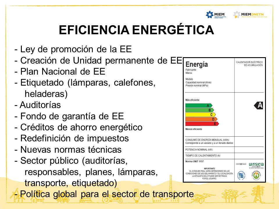 EFICIENCIA ENERGÉTICA - Ley de promoción de la EE - Creación de Unidad permanente de EE - Plan Nacional de EE - Etiquetado (lámparas, calefones, helad