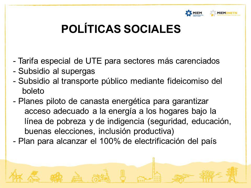 POLÍTICAS SOCIALES - Tarifa especial de UTE para sectores más carenciados - Subsidio al supergas - Subsidio al transporte público mediante fideicomiso