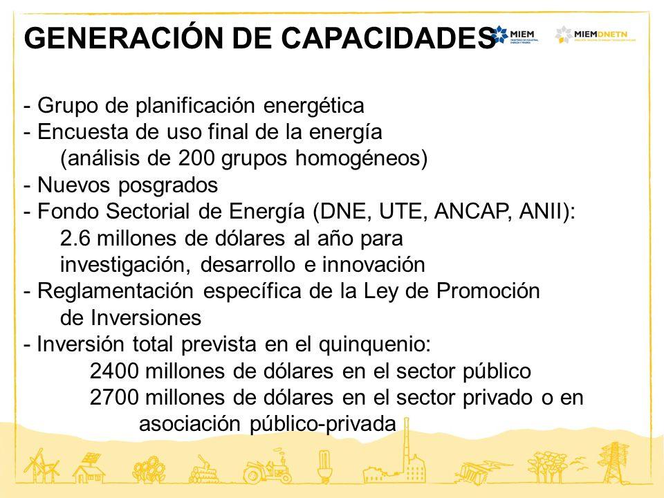 GENERACIÓN DE CAPACIDADES - Grupo de planificación energética - Encuesta de uso final de la energía (análisis de 200 grupos homogéneos) - Nuevos posgr