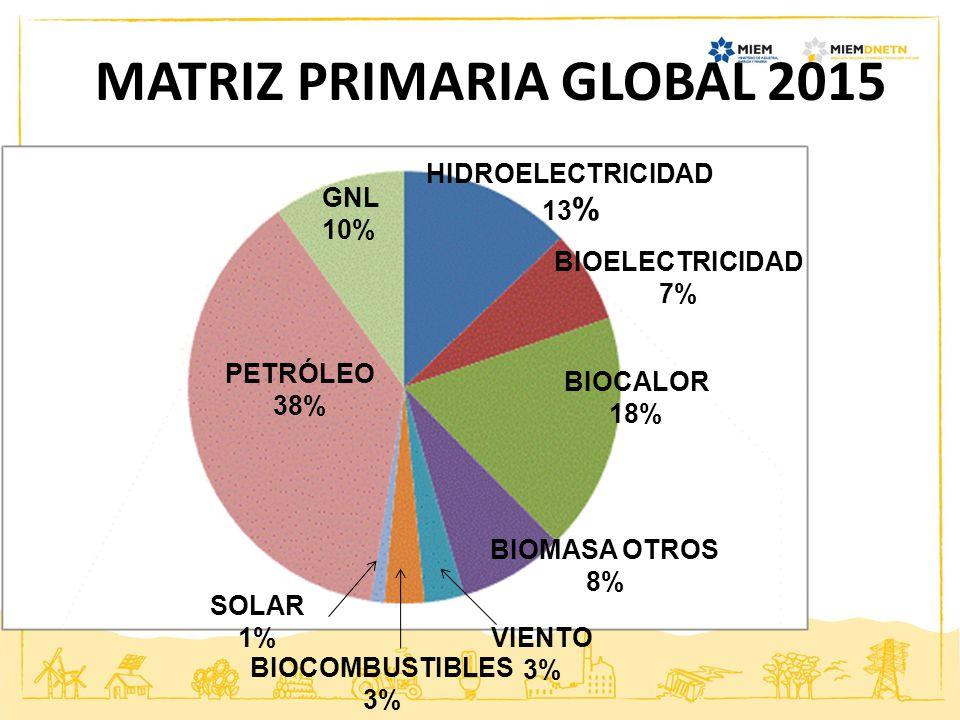 PETRÓLEO 38% GNL 10% HIDROELECTRICIDAD 13 % BIOELECTRICIDAD 7% BIOCALOR 18% BIOMASA OTROS 8% VIENTO 3% BIOCOMBUSTIBLES 3% SOLAR 1% MATRIZ PRIMARIA GLO
