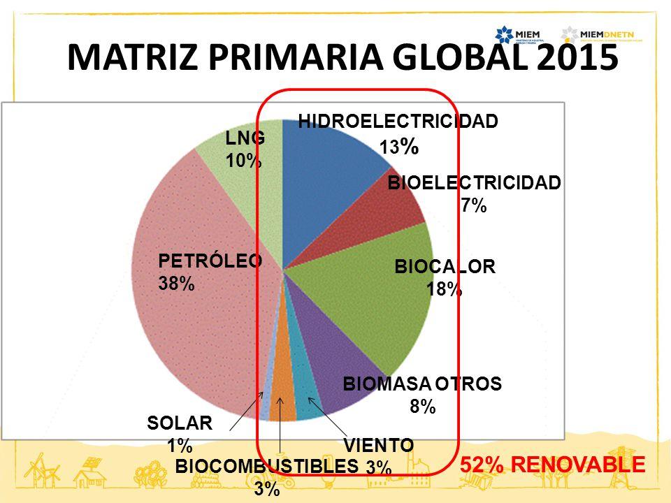 PETRÓLEO 38% LNG 10% HIDROELECTRICIDAD 13 % BIOELECTRICIDAD 7% BIOCALOR 18% BIOMASA OTROS 8% VIENTO 3% BIOCOMBUSTIBLES 3% SOLAR 1% 52% RENOVABLE