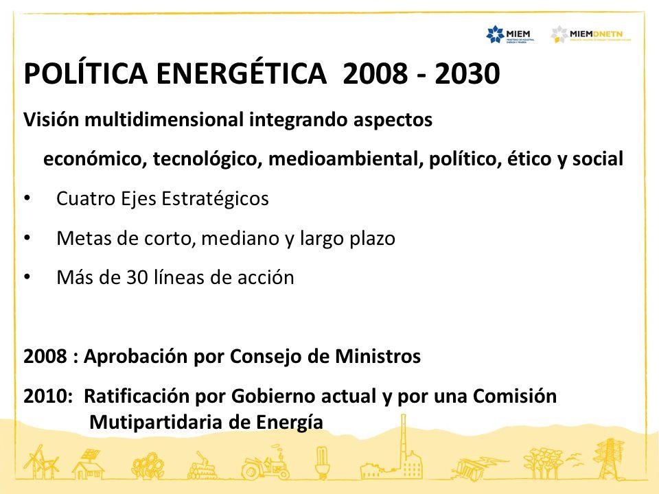 POLÍTICA ENERGÉTICA 2008 - 2030 Visión multidimensional integrando aspectos económico, tecnológico, medioambiental, político, ético y social Cuatro Ej