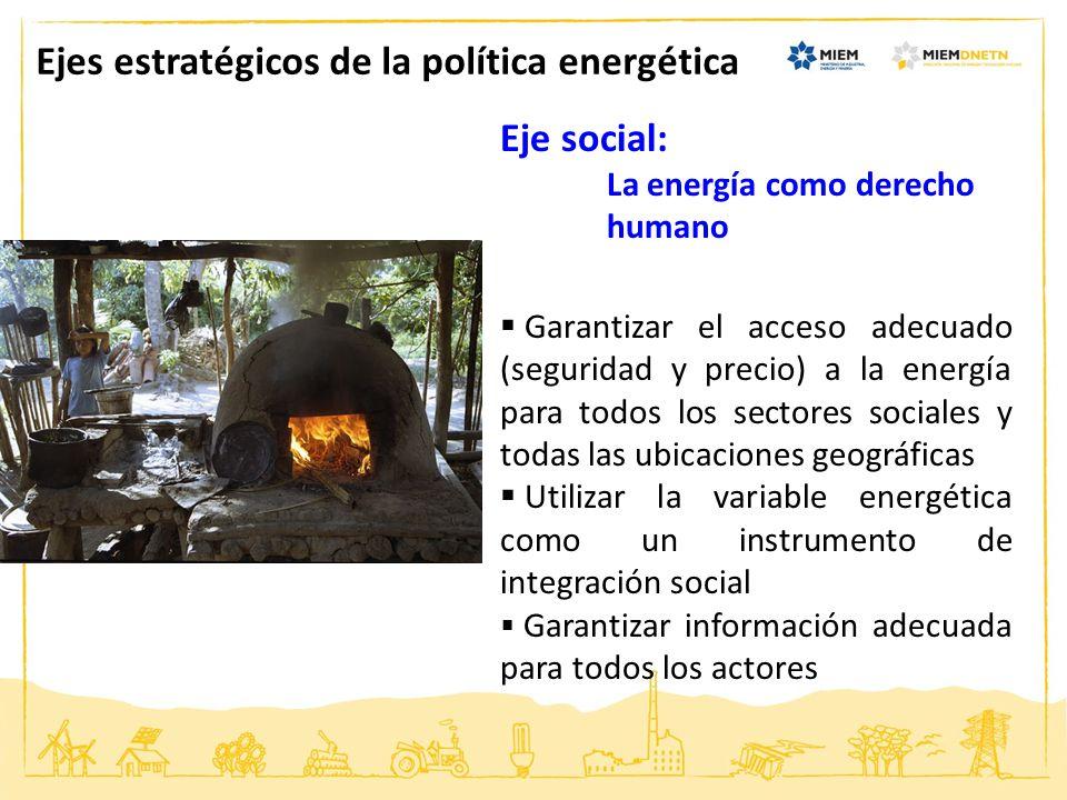 Eje social: La energía como derecho humano Garantizar el acceso adecuado (seguridad y precio) a la energía para todos los sectores sociales y todas la