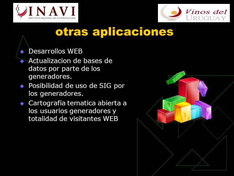 otras aplicaciones Desarrollos WEB Actualizacion de bases de datos por parte de los generadores.