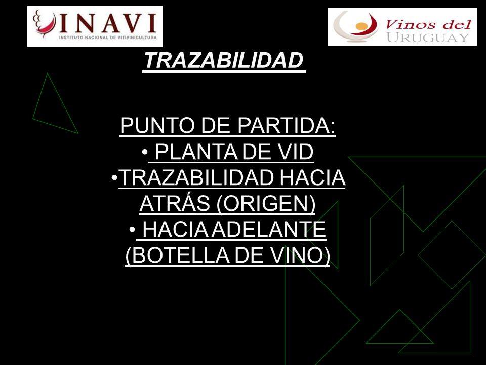 TRAZABILIDAD PUNTO DE PARTIDA: PLANTA DE VID TRAZABILIDAD HACIA ATRÁS (ORIGEN) HACIA ADELANTE (BOTELLA DE VINO)