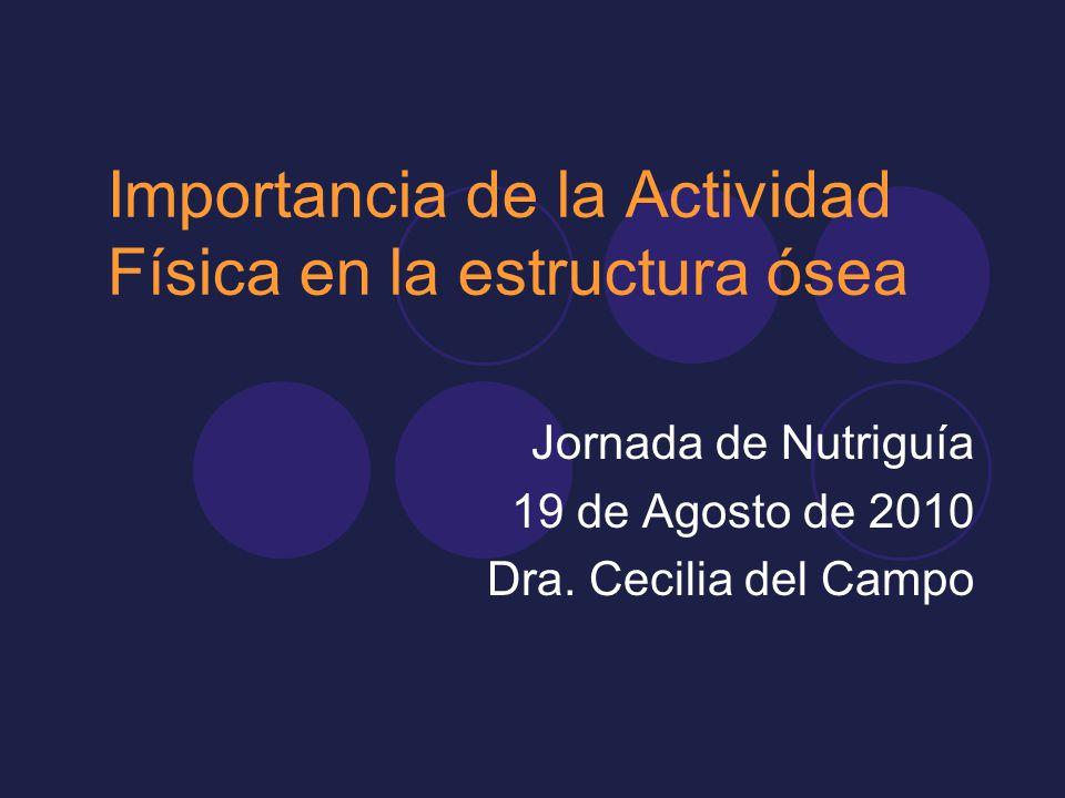 Importancia de la Actividad Física en la estructura ósea Jornada de Nutriguía 19 de Agosto de 2010 Dra. Cecilia del Campo