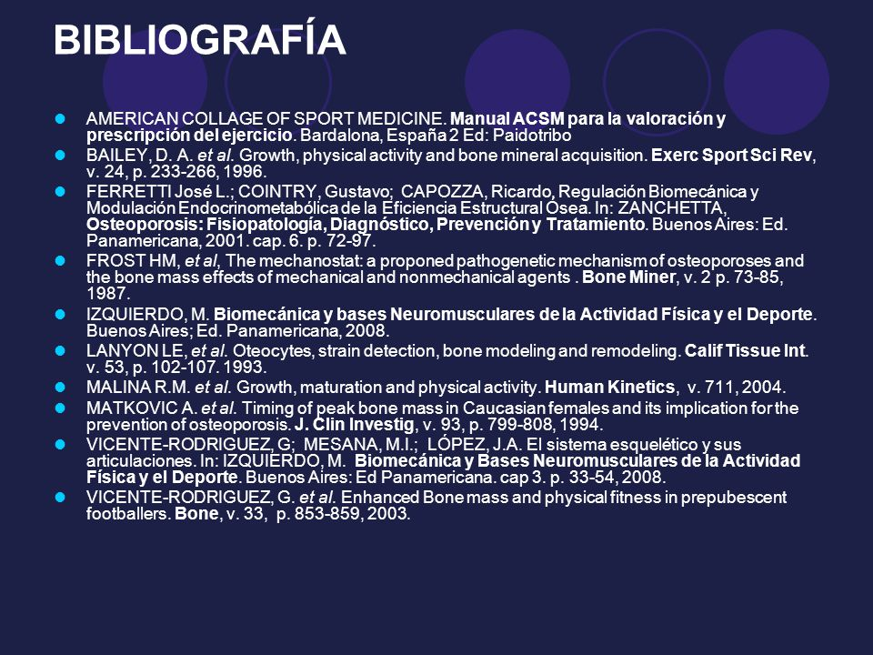 BIBLIOGRAFÍA AMERICAN COLLAGE OF SPORT MEDICINE. Manual ACSM para la valoración y prescripción del ejercicio. Bardalona, España 2 Ed: Paidotribo BAILE