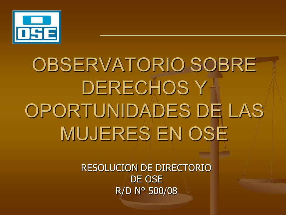 OBSERVATORIO SOBRE DERECHOS Y OPORTUNIDADES DE LAS MUJERES EN OSE RESOLUCION DE DIRECTORIO DE OSE R/D N° 500/08