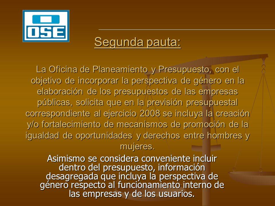 PRESUPUESTO 2009 - OSE CRITERIOS APLICADOS: *NO HAY INCREMENTO DE LA ASIGNACIÓN PRESUPUESTAL *HAY UNA REASIGNACIÓN DE PARTIDAS PRESUPUESTALES *EXPLICITAR EN EL PROYECTO DE PRESUPUESTO UN CAPÍTULO ESPECÍFICO PARA EL TEMA EN GASTOS PROYECTO XX– OBSERVATORIO DE GÉNERO – PARTIDA DE U$20.000 EN EL GRUPO 1 --- u$ 6.OOO EN EL GRUPO 2 --- u$ 14.000