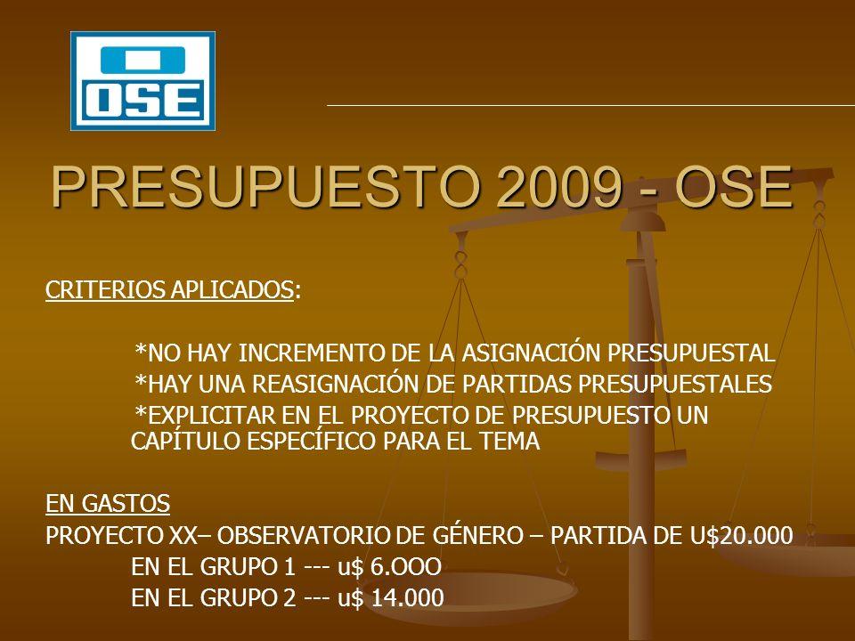 PRESUPUESTO 2009 - OSE CRITERIOS APLICADOS: *NO HAY INCREMENTO DE LA ASIGNACIÓN PRESUPUESTAL *HAY UNA REASIGNACIÓN DE PARTIDAS PRESUPUESTALES *EXPLICI