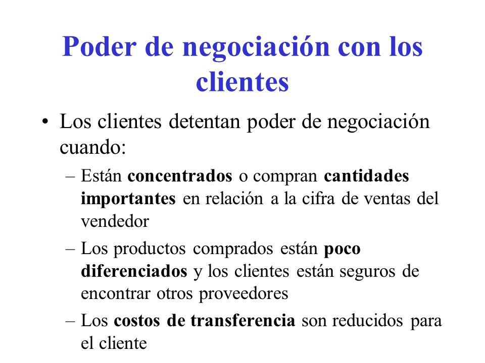 Poder de negociación con los clientes (cont.) Los clientes presentan una amenaza real de integración hacia el origen, y son competidores potenciales peligrosos.