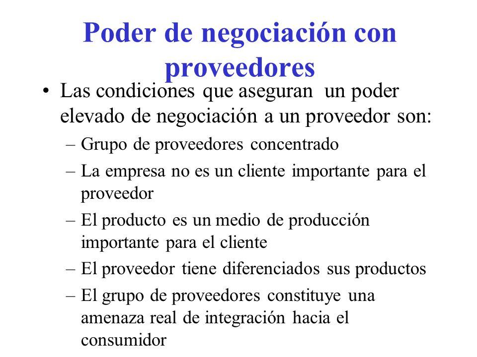 Poder de negociación con proveedores Las condiciones que aseguran un poder elevado de negociación a un proveedor son: –Grupo de proveedores concentrad