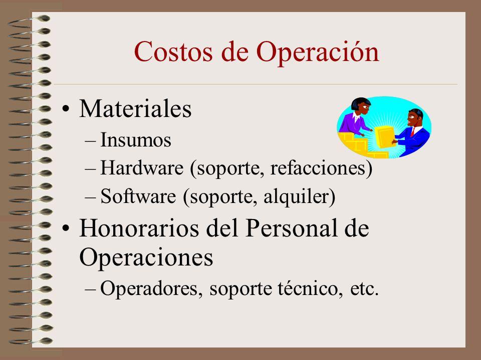 Costos de Operación Materiales –Insumos –Hardware (soporte, refacciones) –Software (soporte, alquiler) Honorarios del Personal de Operaciones –Operado