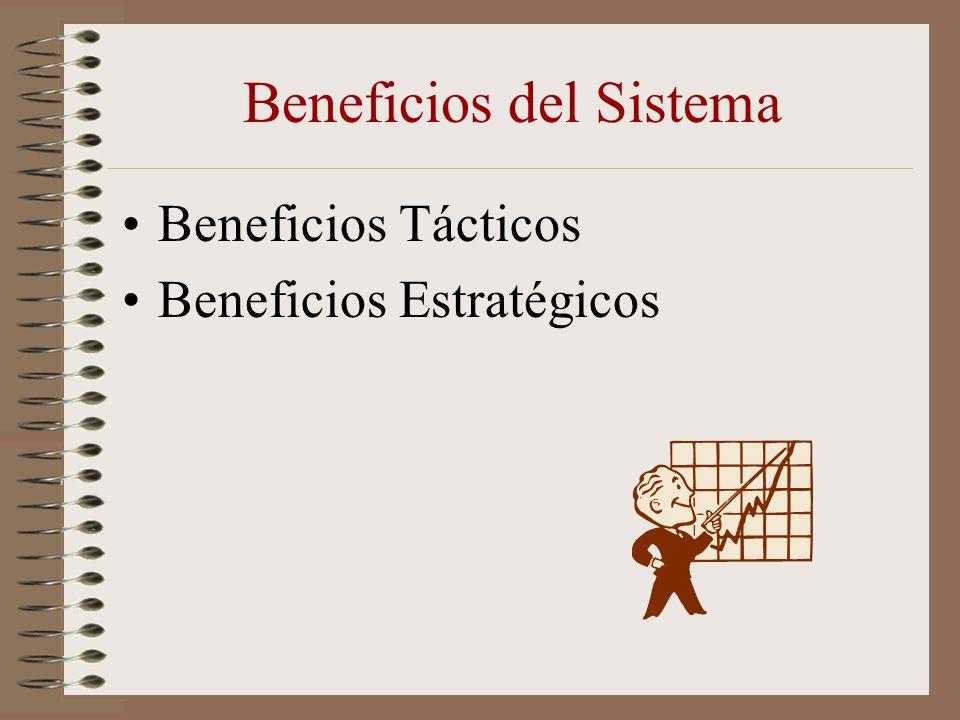 Beneficios del Sistema Beneficios Tácticos Beneficios Estratégicos