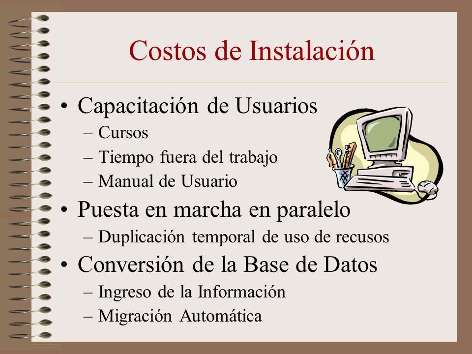 Costos de Instalación Capacitación de Usuarios –Cursos –Tiempo fuera del trabajo –Manual de Usuario Puesta en marcha en paralelo –Duplicación temporal