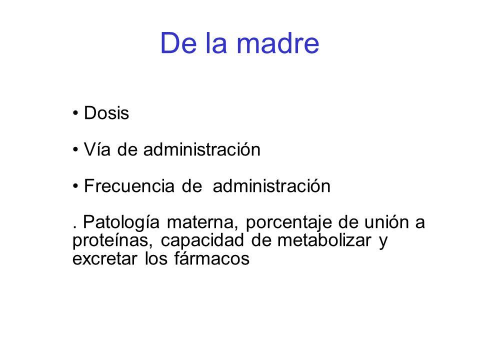 De la madre Dosis Vía de administración Frecuencia de administración. Patología materna, porcentaje de unión a proteínas, capacidad de metabolizar y e