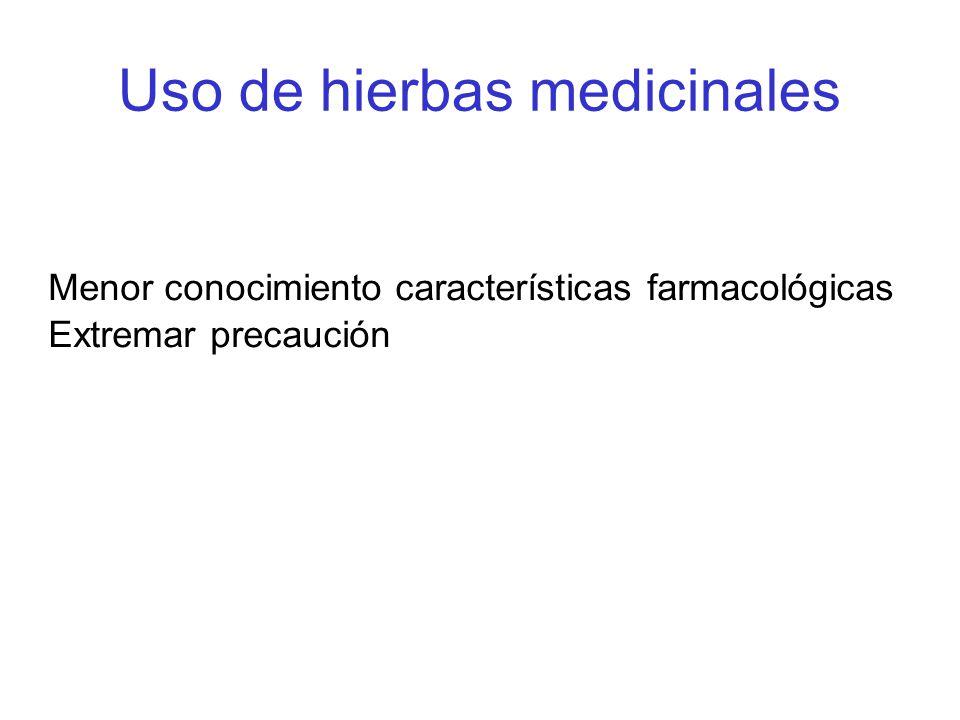 Uso de hierbas medicinales Menor conocimiento características farmacológicas Extremar precaución