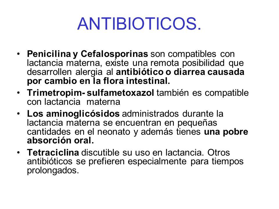 ANTIBIOTICOS. Penicilina y Cefalosporinas son compatibles con lactancia materna, existe una remota posibilidad que desarrollen alergia al antibiótico