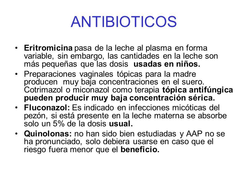 ANTIBIOTICOS Eritromicina pasa de la leche al plasma en forma variable, sin embargo, las cantidades en la leche son más pequeñas que las dosis usadas