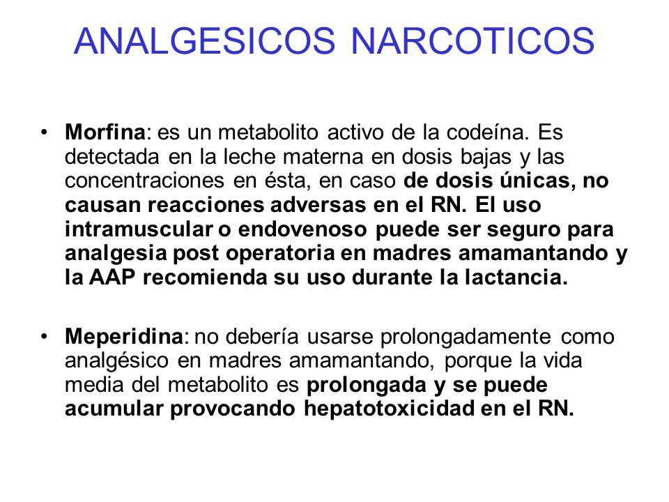 ANALGESICOS NARCOTICOS Morfina: es un metabolito activo de la codeína. Es detectada en la leche materna en dosis bajas y las concentraciones en ésta,