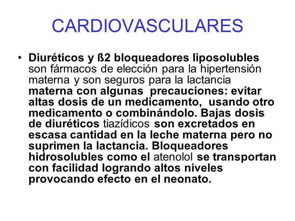 CARDIOVASCULARES Diuréticos y ß2 bloqueadores liposolubles son fármacos de elección para la hipertensión materna y son seguros para la lactancia mater