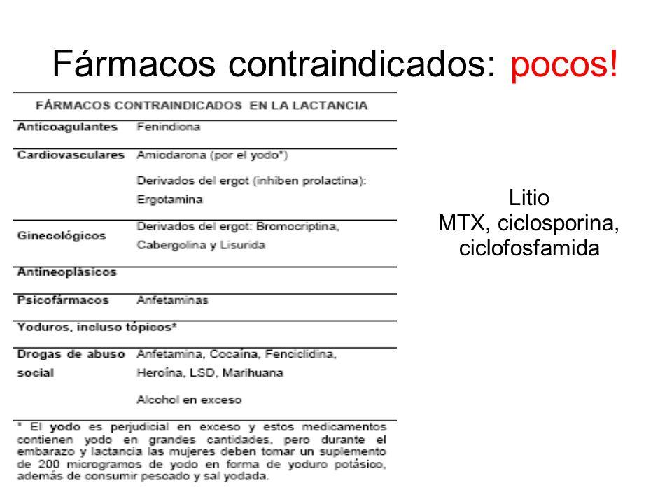 Fármacos contraindicados: pocos! Litio MTX, ciclosporina, ciclofosfamida