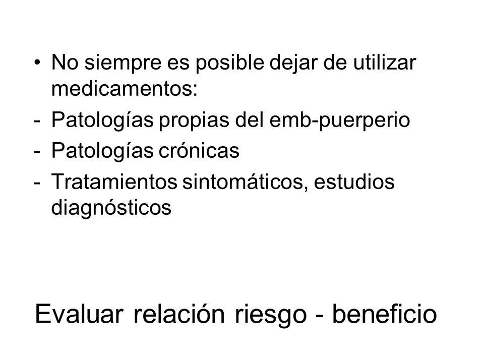 Evaluar relación riesgo - beneficio No siempre es posible dejar de utilizar medicamentos: -Patologías propias del emb-puerperio -Patologías crónicas -