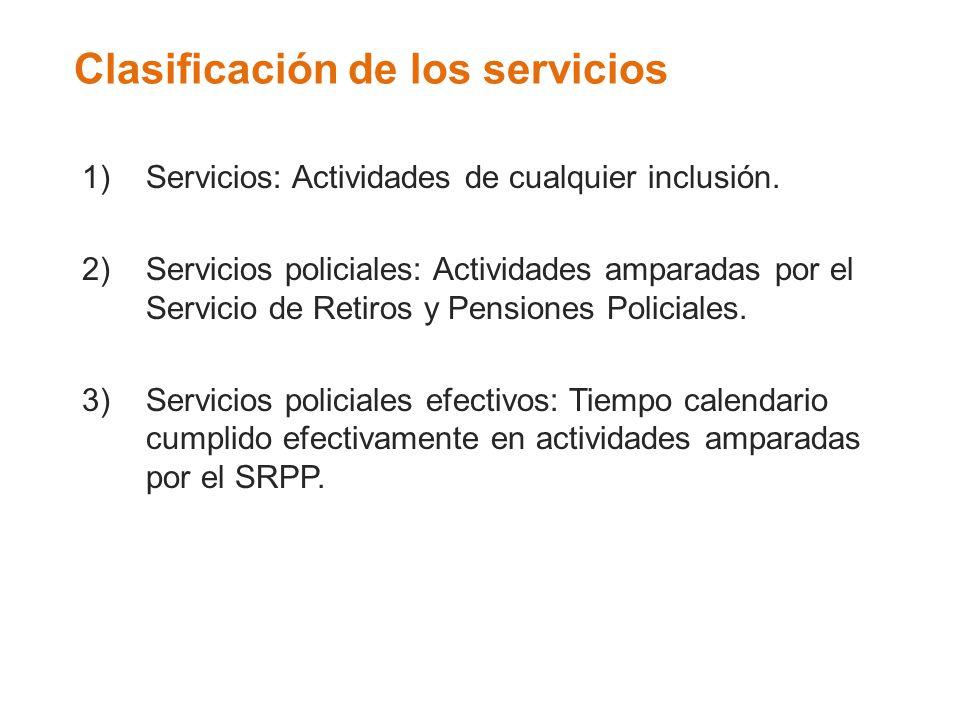 Clasificación de los servicios 1)Servicios: Actividades de cualquier inclusión. 2)Servicios policiales: Actividades amparadas por el Servicio de Retir