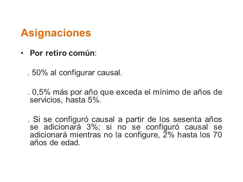 Asignaciones Por retiro común:. 50% al configurar causal.. 0,5% más por año que exceda el mínimo de años de servicios, hasta 5%.. Si se configuró caus