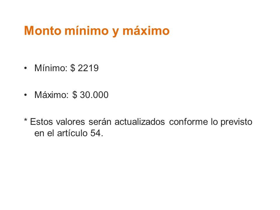 Monto mínimo y máximo Mínimo: $ 2219 Máximo: $ 30.000 * Estos valores serán actualizados conforme lo previsto en el artículo 54.