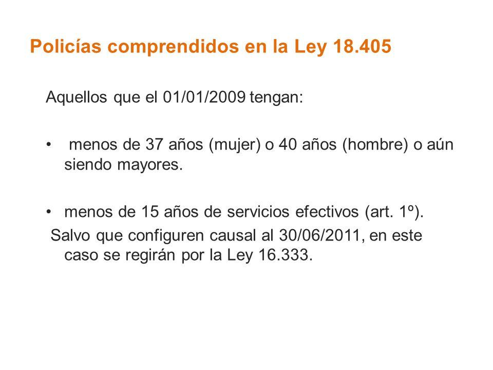 Policías comprendidos en la Ley 18.405 Aquellos que el 01/01/2009 tengan: menos de 37 años (mujer) o 40 años (hombre) o aún siendo mayores. menos de 1