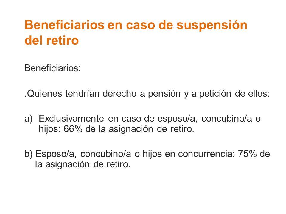 Beneficiarios en caso de suspensión del retiro Beneficiarios:.Quienes tendrían derecho a pensión y a petición de ellos: a)Exclusivamente en caso de es