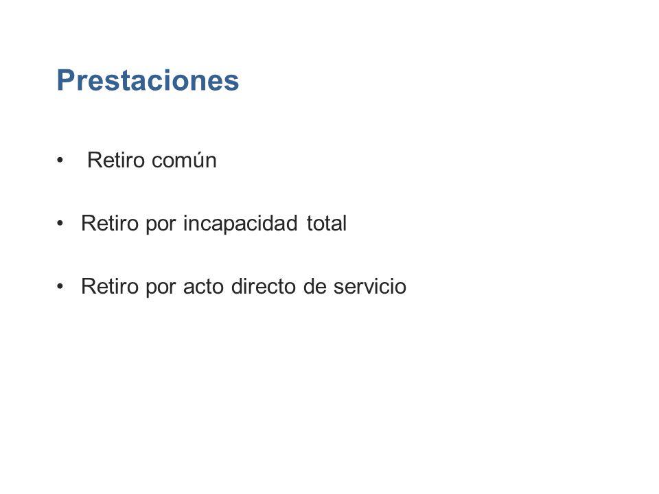 Prestaciones Retiro común Retiro por incapacidad total Retiro por acto directo de servicio