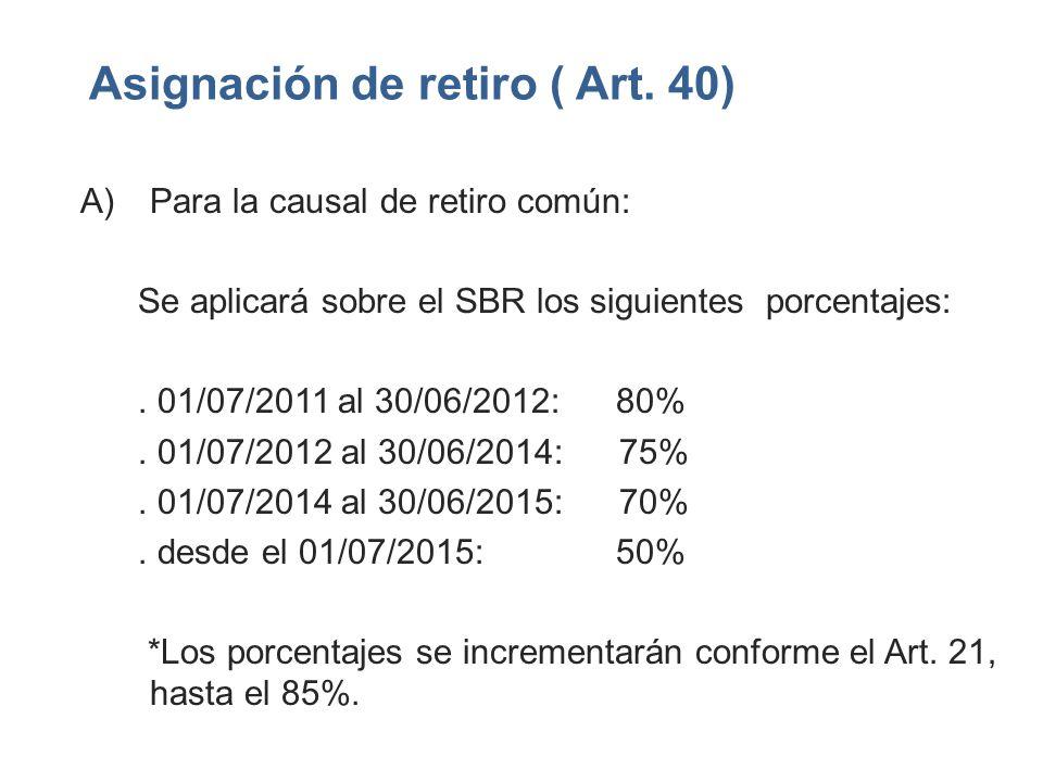 Asignación de retiro ( Art. 40) A)Para la causal de retiro común: Se aplicará sobre el SBR los siguientes porcentajes:. 01/07/2011 al 30/06/2012: 80%.