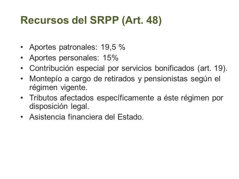Recursos del SRPP (Art. 48) Aportes patronales: 19,5 % Aportes personales: 15% Contribución especial por servicios bonificados (art. 19). Montepío a c