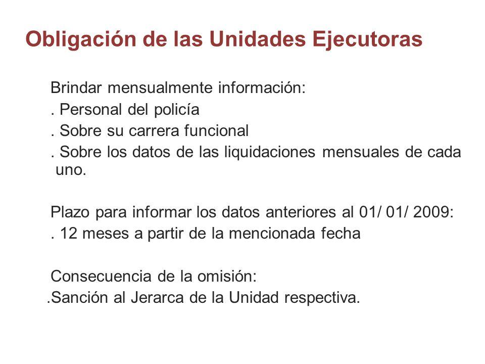 Obligación de las Unidades Ejecutoras Brindar mensualmente información:. Personal del policía. Sobre su carrera funcional. Sobre los datos de las liqu