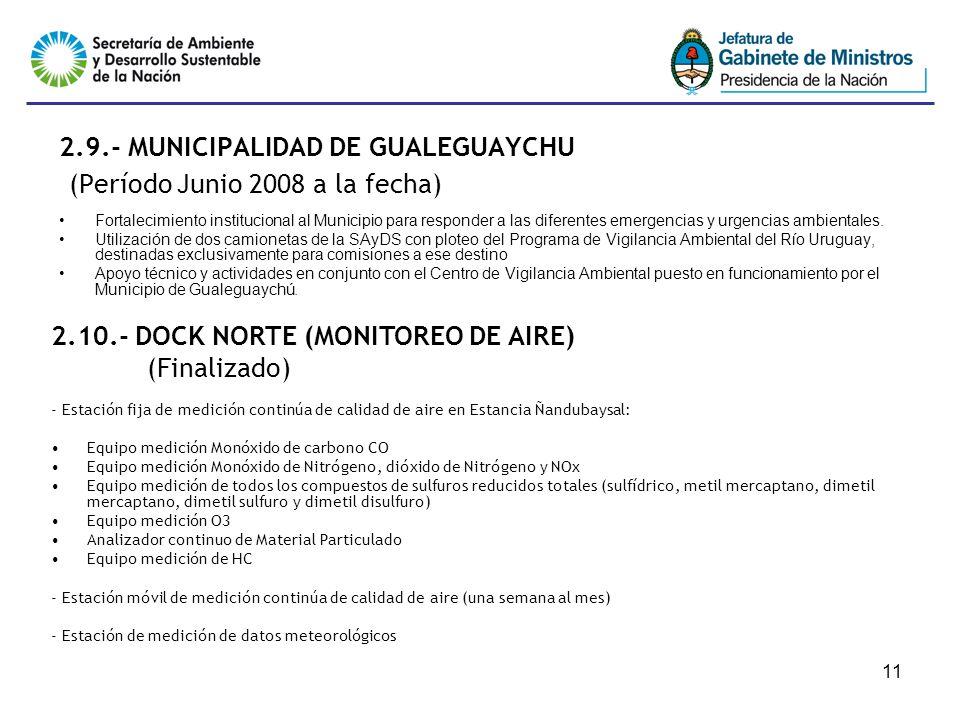 11 2.9.- MUNICIPALIDAD DE GUALEGUAYCHU (Período Junio 2008 a la fecha) Fortalecimiento institucional al Municipio para responder a las diferentes emergencias y urgencias ambientales.