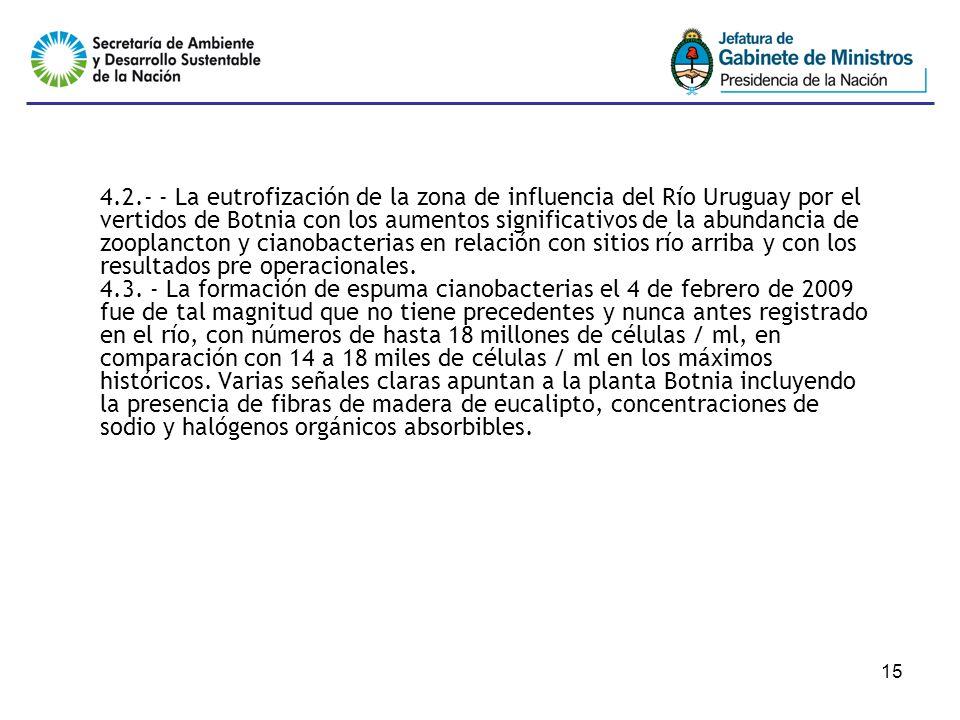 15 4.2.- - La eutrofización de la zona de influencia del Río Uruguay por el vertidos de Botnia con los aumentos significativos de la abundancia de zooplancton y cianobacterias en relación con sitios río arriba y con los resultados pre operacionales.