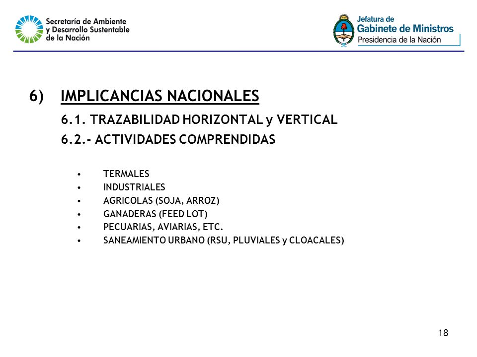 18 6)IMPLICANCIAS NACIONALES 6.1.