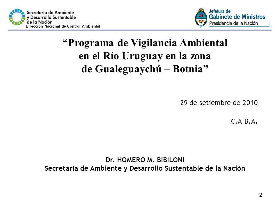 2 Programa de Vigilancia Ambiental en el Río Uruguay en la zona de Gualeguaychú – Botnia 29 de setiembre de 2010 C.A.B.A.