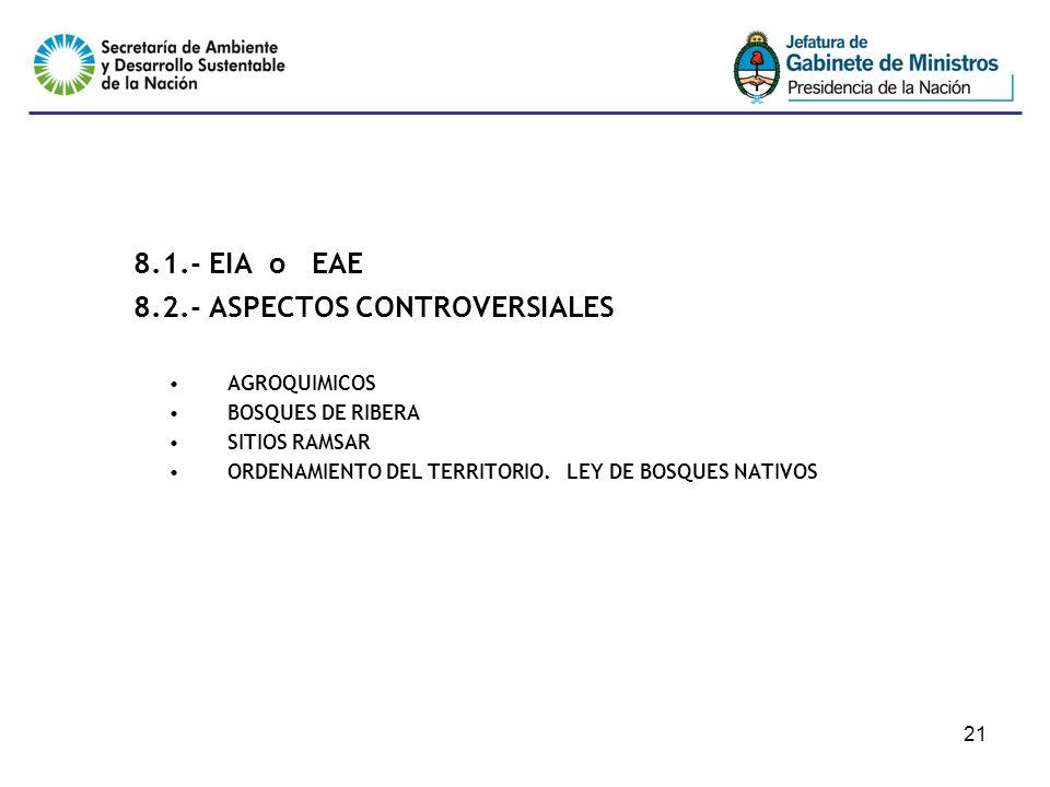 21 8.1.- EIA o EAE 8.2.- ASPECTOS CONTROVERSIALES AGROQUIMICOS BOSQUES DE RIBERA SITIOS RAMSAR ORDENAMIENTO DEL TERRITORIO. LEY DE BOSQUES NATIVOS