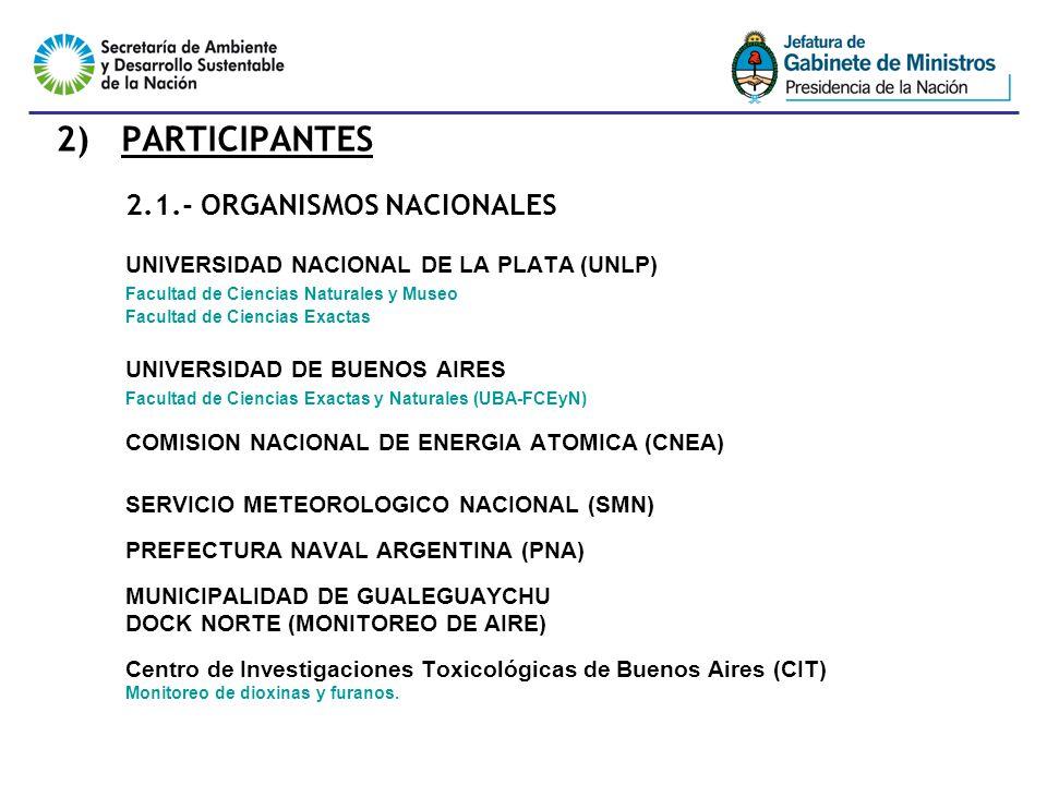 4 2) PARTICIPANTES 2.1.- ORGANISMOS NACIONALES UNIVERSIDAD NACIONAL DE LA PLATA (UNLP) Facultad de Ciencias Naturales y Museo Facultad de Ciencias Exactas UNIVERSIDAD DE BUENOS AIRES Facultad de Ciencias Exactas y Naturales (UBA-FCEyN) COMISION NACIONAL DE ENERGIA ATOMICA (CNEA) SERVICIO METEOROLOGICO NACIONAL (SMN) PREFECTURA NAVAL ARGENTINA (PNA) MUNICIPALIDAD DE GUALEGUAYCHU DOCK NORTE (MONITOREO DE AIRE) Centro de Investigaciones Toxicológicas de Buenos Aires (CIT) Monitoreo de dioxinas y furanos.