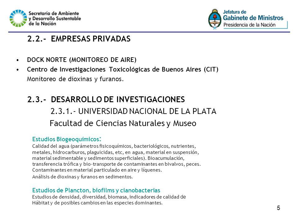 5 2.2.- EMPRESAS PRIVADAS DOCK NORTE (MONITOREO DE AIRE) Centro de Investigaciones Toxicológicas de Buenos Aires (CIT) Monitoreo de dioxinas y furanos.