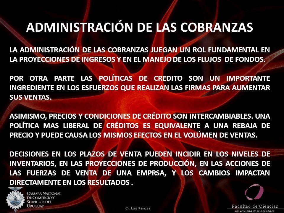 ADMINISTRACIÓN DE LAS COBRANZAS LA ADMINISTRACIÓN DE LAS COBRANZAS JUEGAN UN ROL FUNDAMENTAL EN LA PROYECCIONES DE INGRESOS Y EN EL MANEJO DE LOS FLUJ