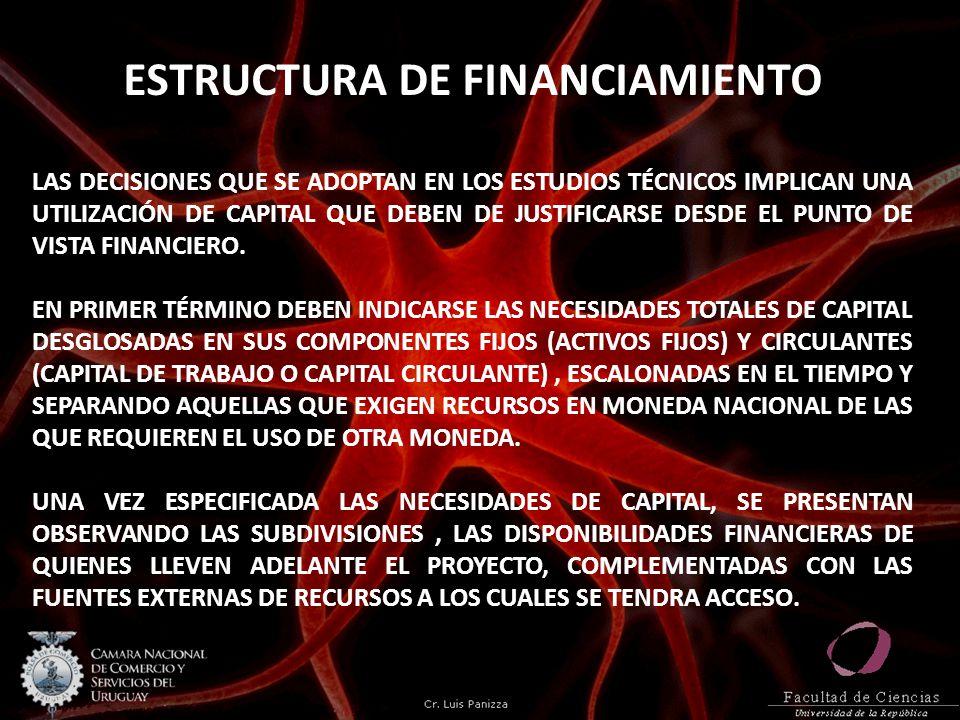 ESTRUCTURA DE FINANCIAMIENTO LAS DECISIONES QUE SE ADOPTAN EN LOS ESTUDIOS TÉCNICOS IMPLICAN UNA UTILIZACIÓN DE CAPITAL QUE DEBEN DE JUSTIFICARSE DESD