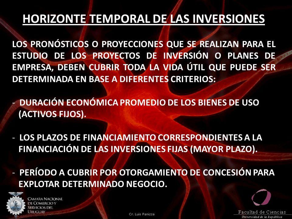 HORIZONTE TEMPORAL DE LAS INVERSIONES LOS PRONÓSTICOS O PROYECCIONES QUE SE REALIZAN PARA EL ESTUDIO DE LOS PROYECTOS DE INVERSIÓN O PLANES DE EMPRESA