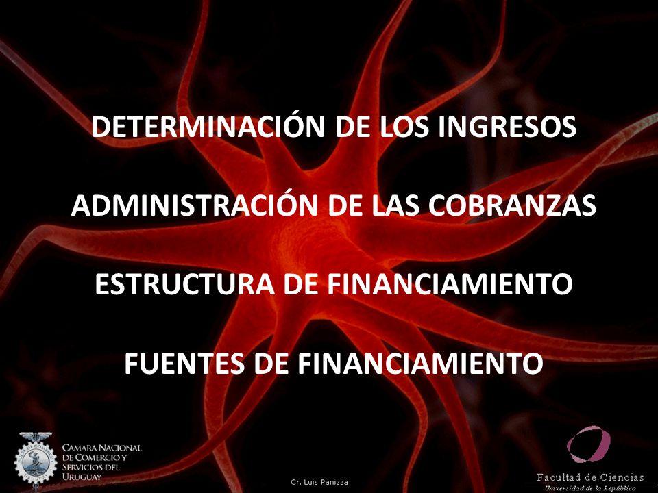 DETERMINACIÓN DE LOS INGRESOS ADMINISTRACIÓN DE LAS COBRANZAS ESTRUCTURA DE FINANCIAMIENTO FUENTES DE FINANCIAMIENTO