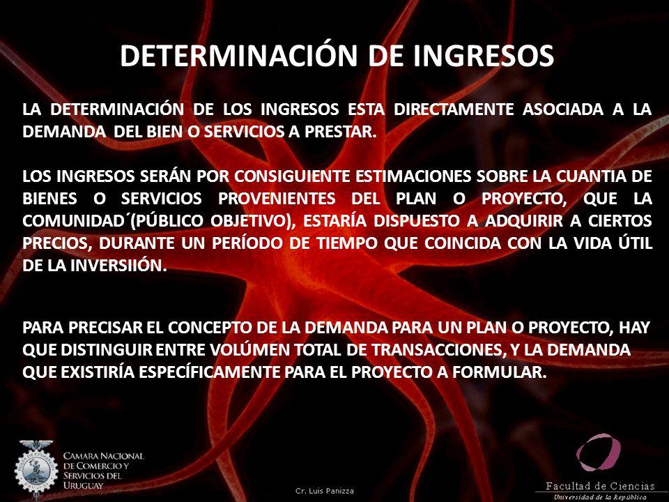 DETERMINACIÓN DE INGRESOS LA DETERMINACIÓN DE LOS INGRESOS ESTA DIRECTAMENTE ASOCIADA A LA DEMANDA DEL BIEN O SERVICIOS A PRESTAR. LOS INGRESOS SERÁN
