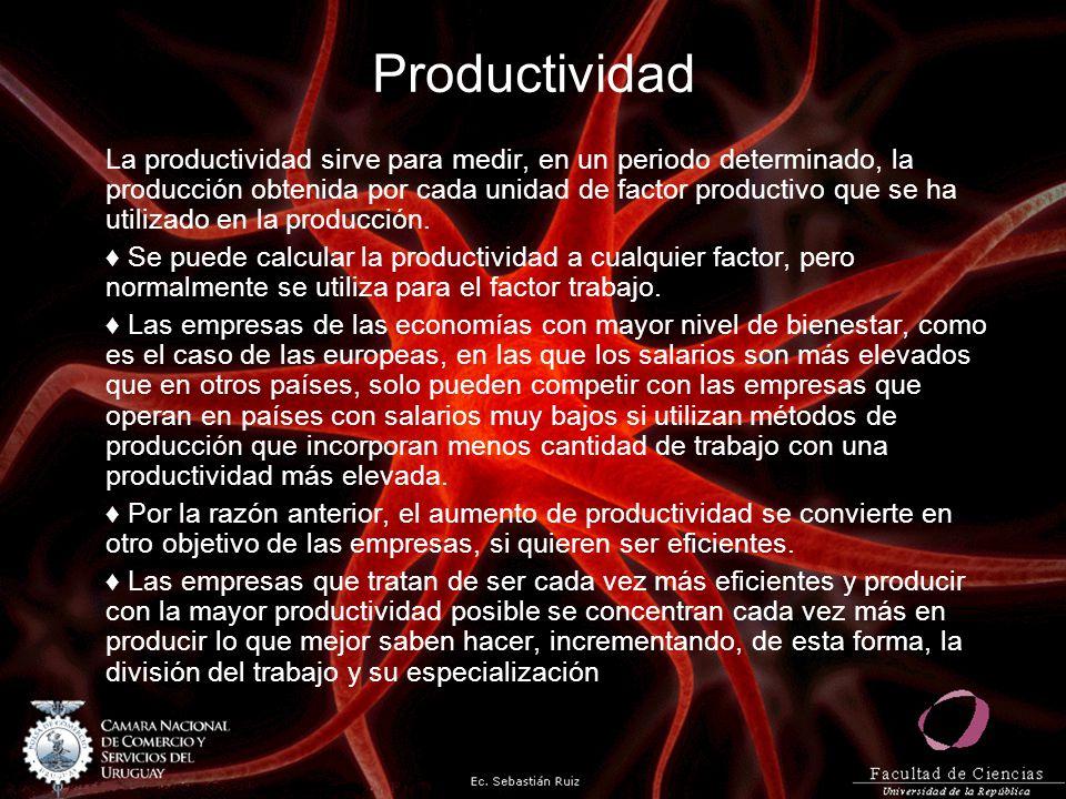 Productividad La productividad sirve para medir, en un periodo determinado, la producción obtenida por cada unidad de factor productivo que se ha util
